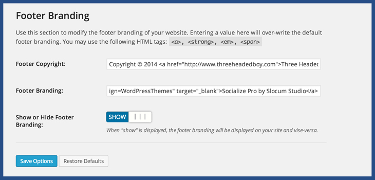 Remove Copyright Branding from WordPress website or theme