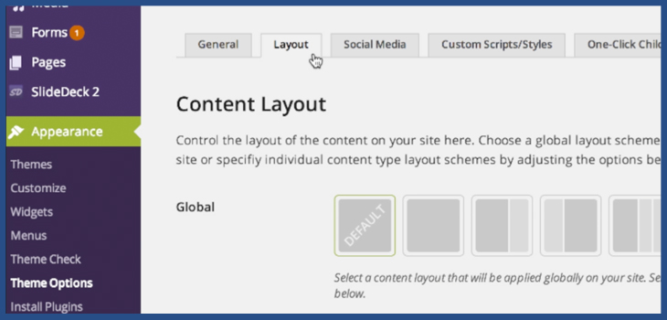 Where to change layout of WordPress page