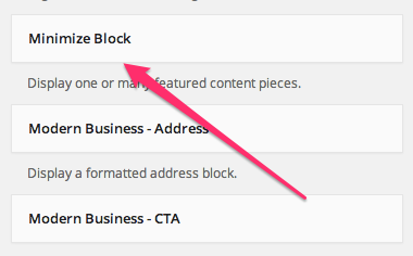 Minimize Blocks in the widget list