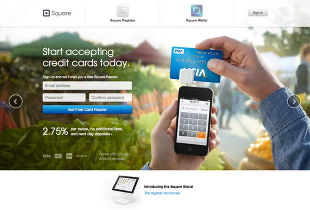Square's Landing Page