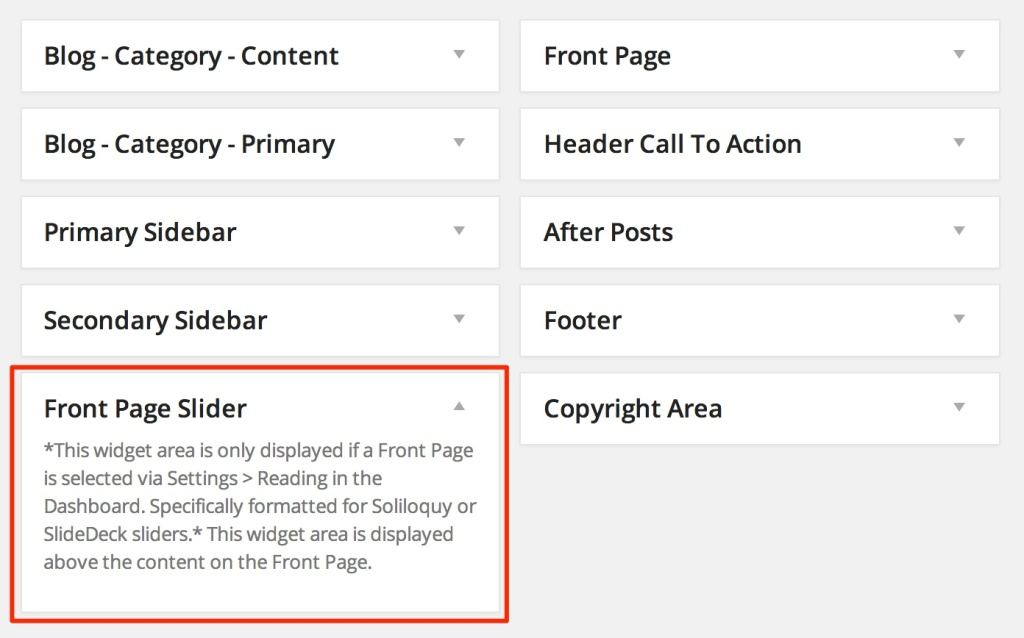 Front Page Slider widget area wordpress