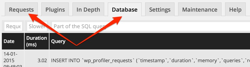 Track database requests wordpress