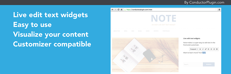 Note WordPress Front-end live text editor