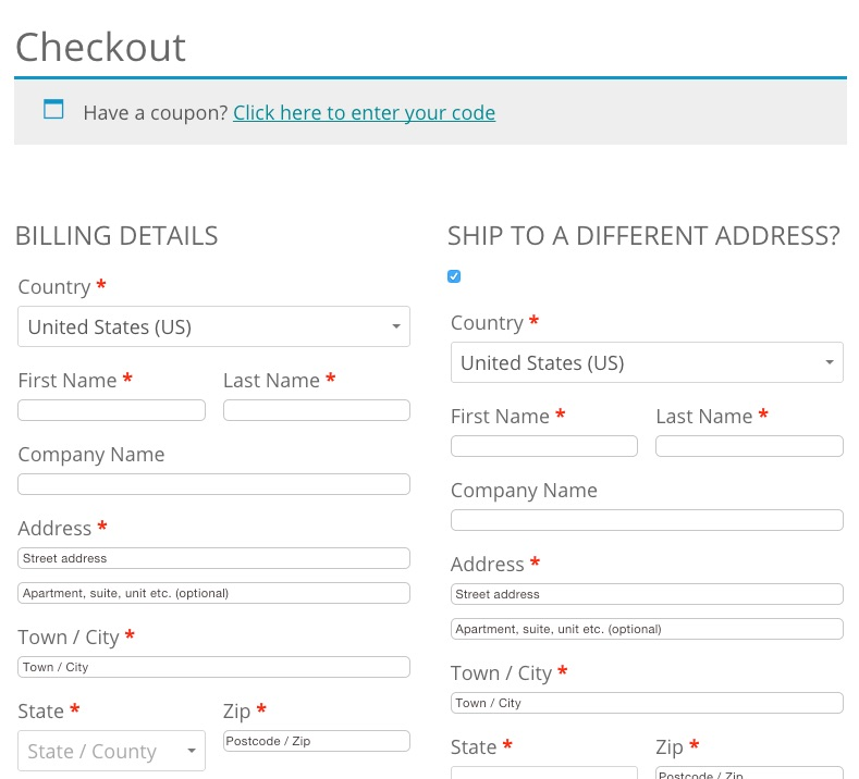 Checkout page woocommerce 2.3