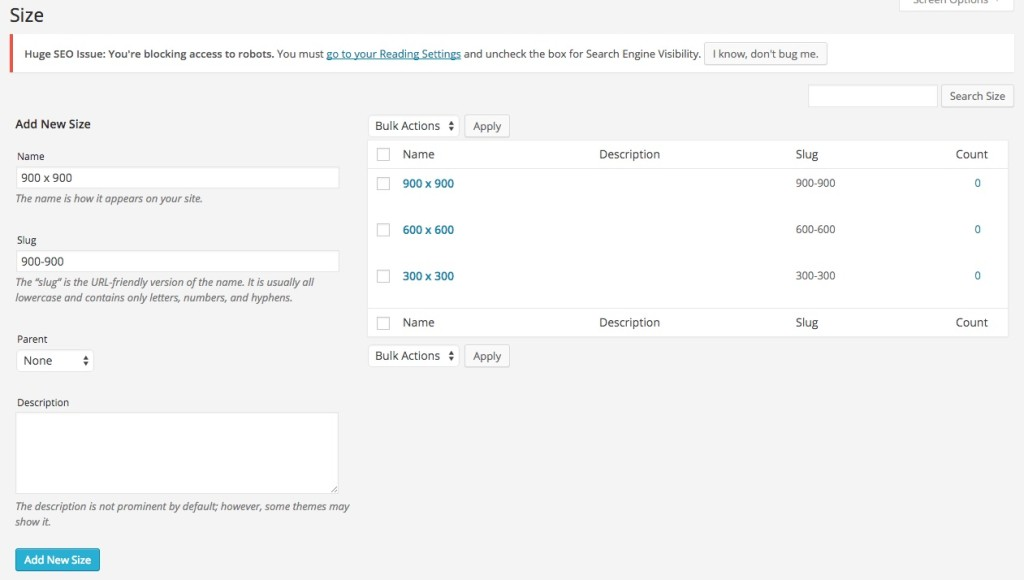 Create options in Attributes on WooCommerce