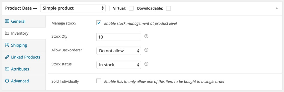Create physical product with stock level woocommerce