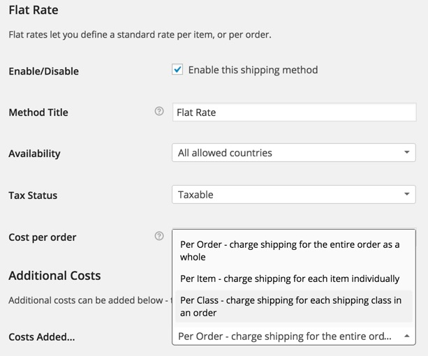 Flat Rate Shipping WooCommerce