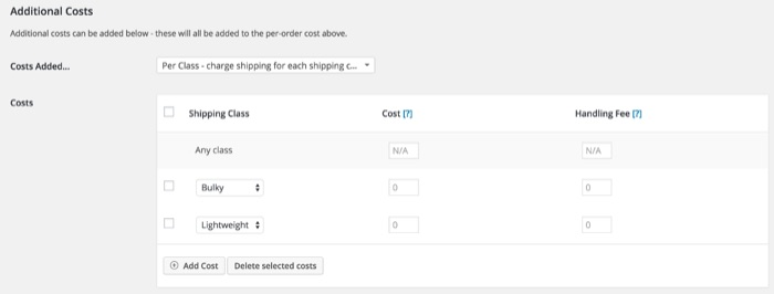 Apply shipping class WooCommerce