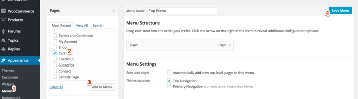 How to display shopping cart details on a WordPress menu