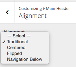 Symphony Header alignment options