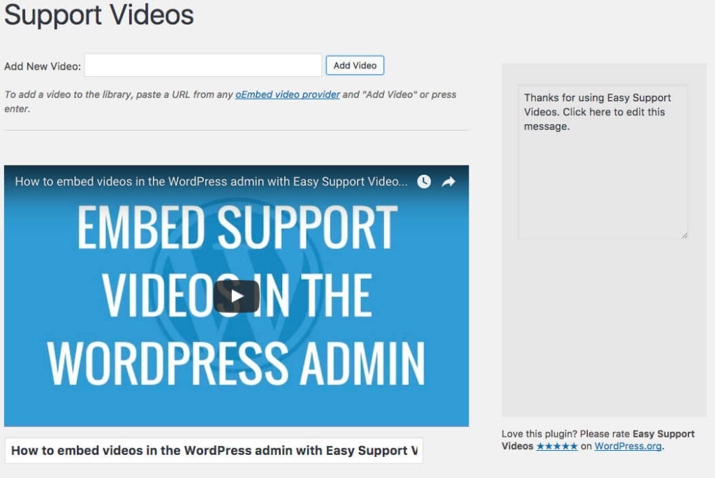 Easily add videos to the admin